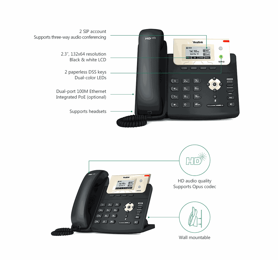 Yealink SIP-T21P E2 Entry-level IP Phone, 2 Lines & HD with