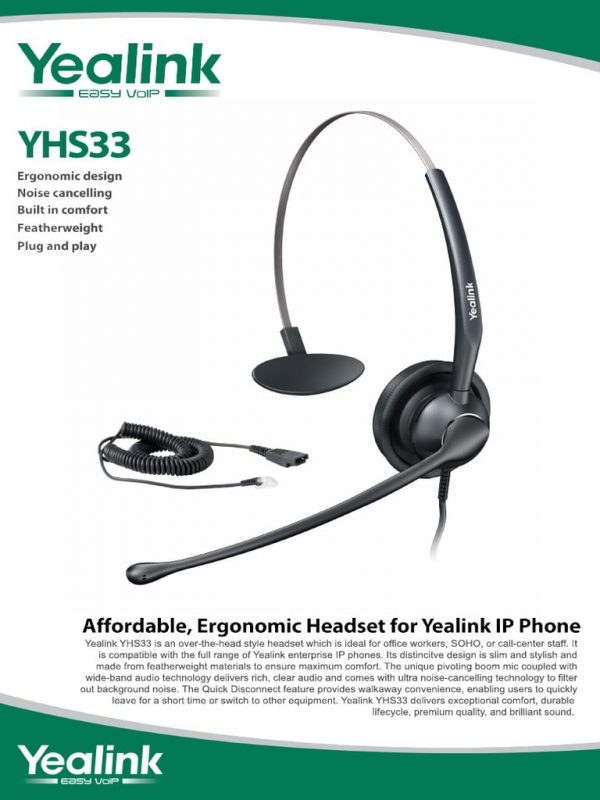 Yealink YHS33-USB Call Centre Headset